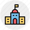 apartment, building, education, school, school building icon