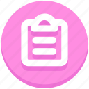 clipboard, document, education, paper icon