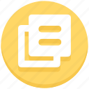 documents, duplicate, education, paper icon