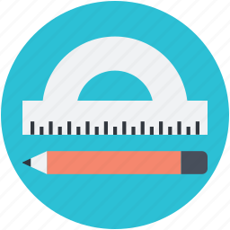 degree tool, geometrical tool, measuring tool, pencil, protractor icon