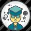 college, graduation, student, students, user icon