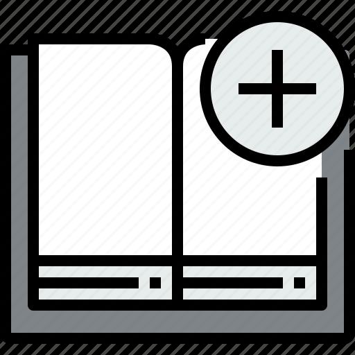 add, book, education, learning, open, school, study icon