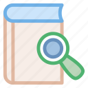 book, glass, magnifying, reading, search, searcher, searching icon