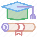 cap, diploma, education, graduation, hat, tool icon
