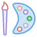 artistic, brush, brushes, educational, icons, paint, painter, painting, palette, palettes icon