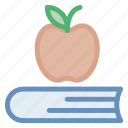 apple, book, books, class, fruit, scholastics, school, tool icon