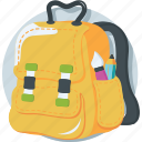 backpack, bag, books, rucksack, school bag