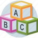abc, alphabet blocks, blocks, english, kindergarten icon