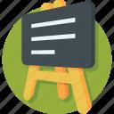 blackboard, chalkboard, classroom, easel, whiteboard icon