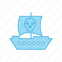 pirate, ship, skull