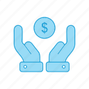 coin, dollar, hand, income, saving, stack icon