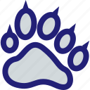 mascot, paw, print, school icon