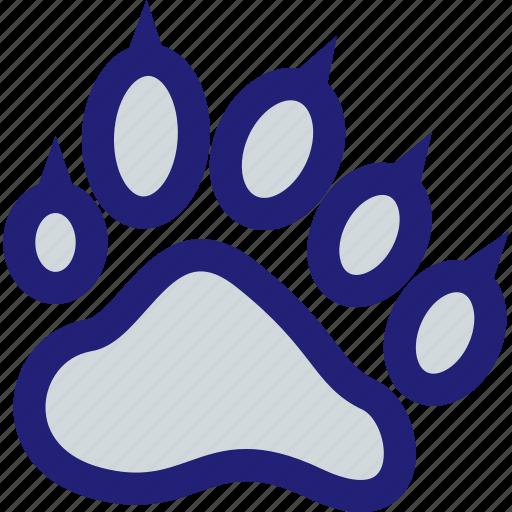 mascot, paw, print, school icon