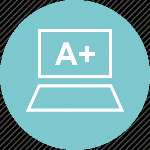 a, education, laptop, plus icon