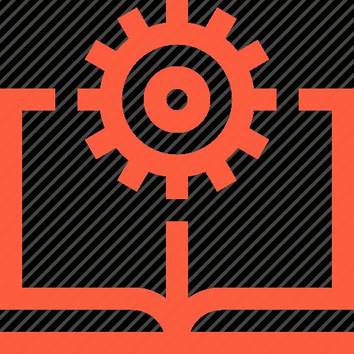 book, cogwheel, education, engineering, literature, open, work icon