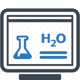 chemistry, computer, laptop, learning, online education, study, tube icon