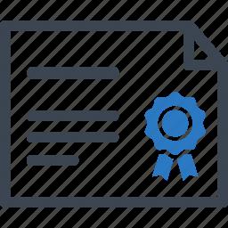 achievement, award, diploma, education, graduation, ribbon, school icon