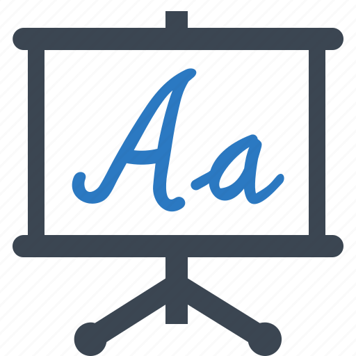 alphabet, blackboard, education, learning icon