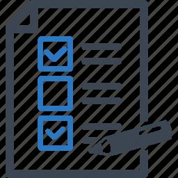 checklist, exam, school test, tasks, to do list icon
