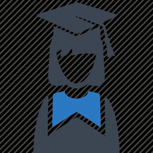 college, education, graduate, graduation, mortar board, schoolgirl, student icon