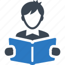 book, library, reading, student icon