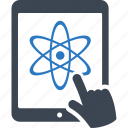 atom, chemistry, learning, online education, school, science, study, tablet icon