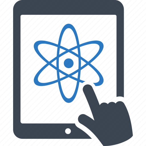 atom, learning, online education, tablet icon