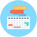 books, e book, e learning, e study, keyboard icon