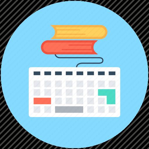 books, e book, e learning, e study, keyboard icon