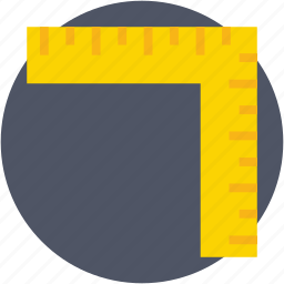 geometry, measuring tool, ruler, scale, try square icon