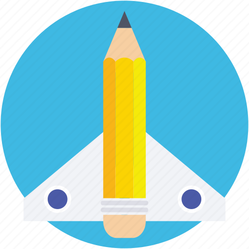 education startup, missile, pencil, rocket, startup icon