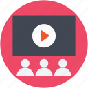 auditorium, cinema hall, classroom, video lecture, video presentation icon