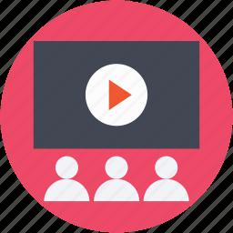 auditorium, cinema hall, classroom, video lecture, video presentation icon