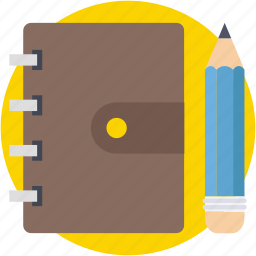 notepad, pencil, scratch pad, stationery, writing pad icon