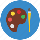 art, artist brush, brush, colors, paint brush, paint palette, painting icon