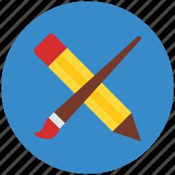 art, color, design, draw, pencil, pencil and brush icon