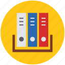 archive, books, books file, documents, file folders, files, files rack, folder icon