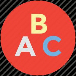 alphabets, basic education, early education, english icon