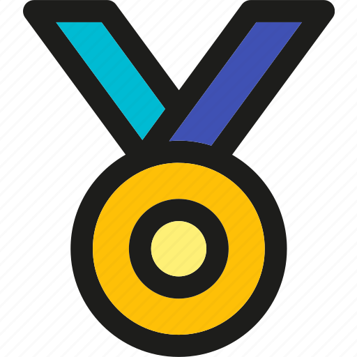 badge, gold, medal, ribbon, star, win icon