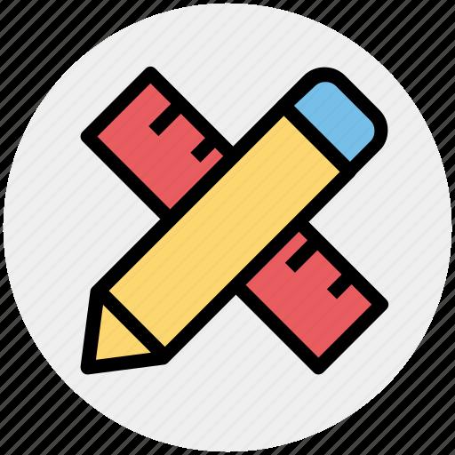 education, math, mathematics, pencil and ruler, pencil ruler icon