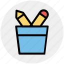 pen, pencil, pencil basket, pencils, school, tool icon
