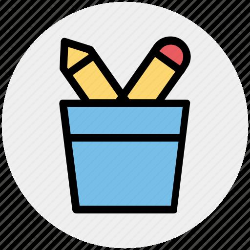 pen, pencil, pencil basket, pencils, school, tool icon