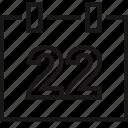 calendar, event, school, twentytwo icon