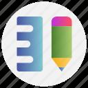 draw, education, measure, pencil, ruler, school icon