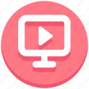 e-learning, education, lcd, media play, monitor, screen, video icon