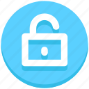 access, education, opened, padlock, unlock icon