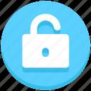 padlock, unlock, education, opened, access icon