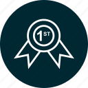award, education, learn, learning, one, ribbon icon