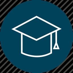 cap, education, graduation, learn, learning icon