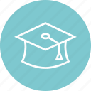 cap, education, graduation, learn, learning icon